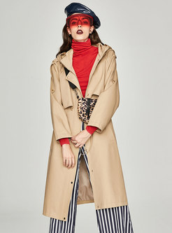 Khaki Hooded Gathered Waist Slim Trench Coat