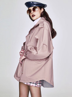 Hooded Gathered Waist Asymmetric Trench Coat