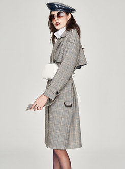 Elegant Grid Notched Double-breasted Belted Slim Trench Coat