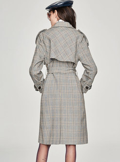 Notched Double-breasted Belted Plaid Trench Coat