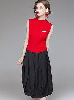 38f812da1e Stylish Black-red Blocked Patchwork Lantern Dress ...