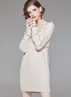 Brief Apricot V-neck Long Sleeve Wrap Knitted Dress With Bead