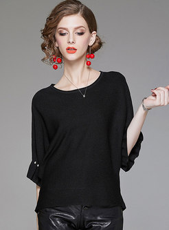 Stylish Batwing Sleeve Beaded Knitted T-Shirt