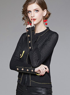 Autumn Black All-match Knitting Cropped Tunic With Rivet
