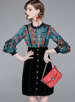 Autumn Ruffled Sleeve Print Top & High Waist Velvet Sling Dress