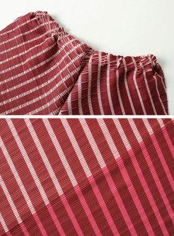 Chic Color-blocked Slim T-shirt & High Waist Asymmetric Wide Leg Pants