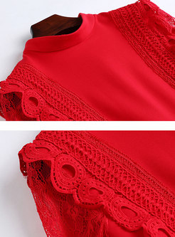 Autumn Red Sexy Lace-paneled Slim Mermaid Dress