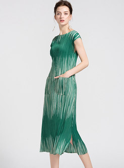 Chic Color-blocked O-neck Side-slit Pleated Slim Dress