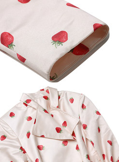 Notched Strawberry Print A Line Trench Coat