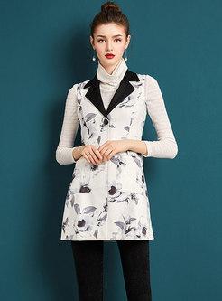 Winter Trendy Ink Print Turn-down Collar Sleeveless Vest