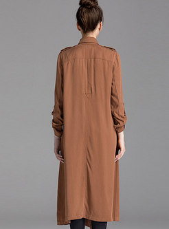 Autumn Coffee Stand Collar Long Open Trench Coat