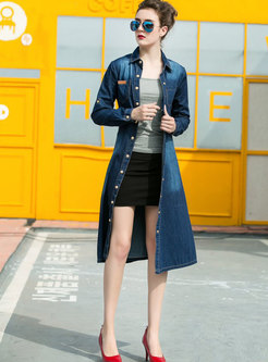 Stylish Denim Single-breasted Hem Belted Trench Coat