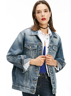 Casual Denim Letter Print Single-breasted Short Coat