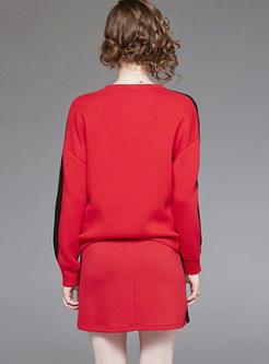 Casual O-neck Long Sleeve Sweatshirt & Bodycon Skirt