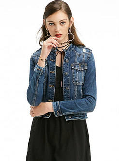 Blue Denim Stand Collar Single-breasted Short Coat