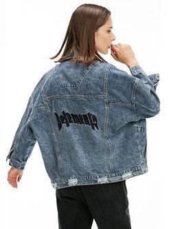 Trendy Denim Print Frayed Single-breasted Jacket