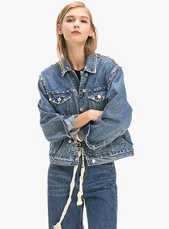 Chic Denim Rivet Single-breasted Short Jacket