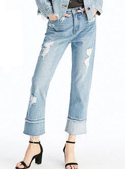 Light Blue Splicing Hollow Out Straight Denim Pants