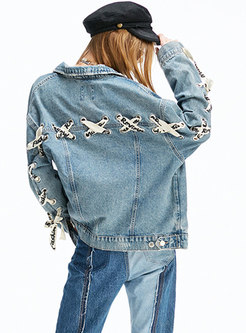 Chic Denim Tied Single-breasted Short Jacket
