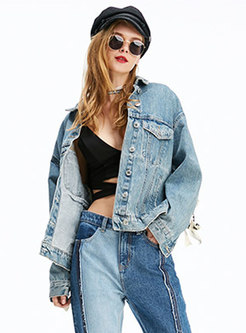 Lapel Single-breasted Short Denim Jacket