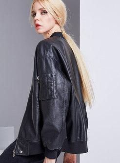 Autumn Trendy Black PU V-neck Zippered Coat