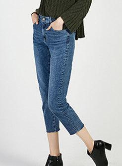 Denim High Waist Elastic Slim Pencil Pants