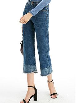 Casual High Waist Rough Selvedge Wide Leg Pants