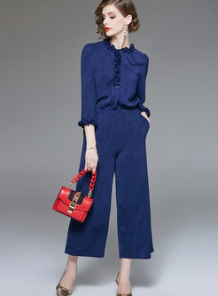 Solid Color Three Quarters Sleeve High Waist Jumpsuits