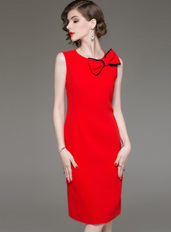 O-neck Sleeveless Bowknot Waist Slit Sheath Dress