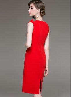 O-neck Sleeveless Bowknot Waist Slit Sheath Dress