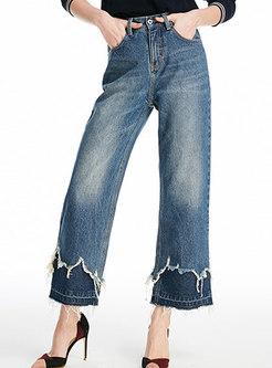 Denim Splicing High Waist Frayed Wide Leg Pants