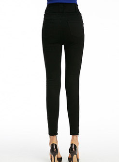 Brief Black High Waist Elastic Rough Selvedge Pencil Pants