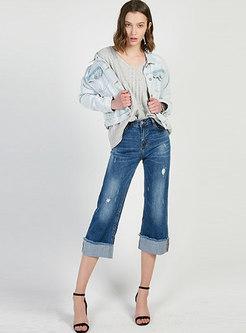 Casual Light Blue Denim Lapel Single-breasted Short Coat