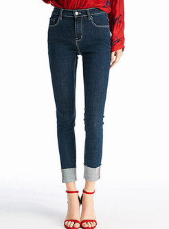 Trendy Blue High Waist Slim Straight Pants