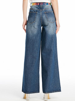 Stylish Blue High Waist Wide Leg Pants