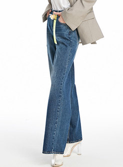 Stylish Blue High Waist Wide Leg Pants