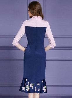 Vintage Mandarin Collar Embroidered High Waist Mermaid Dress