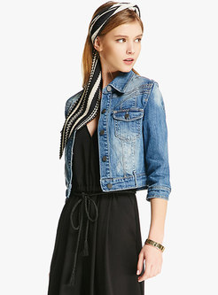 Half Sleeve Single-breasted Short Denim Jacket