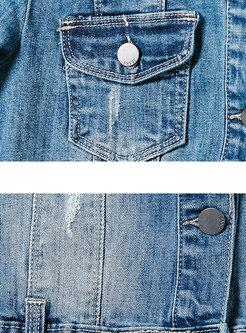 Stylish Denim Half Sleeve Single-breasted Short Coat