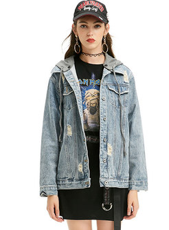 Blue Hooded Holes Short Denim Jacket
