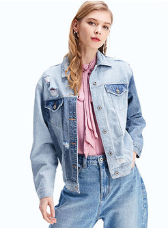 Lapel Color-blocked Holes Denim Jacket