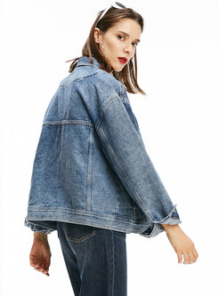 Turn Down Collar Single-breasted Denim Jacket