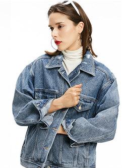 Casual Turn Down Collar Single-breasted Denim Coat