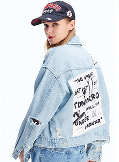 Letter Print Holes Single-breasted Denim Jacket