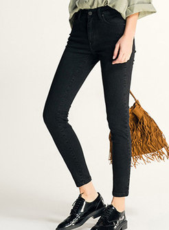 Brief Black Elastic High Waist Slim Pencil Pants