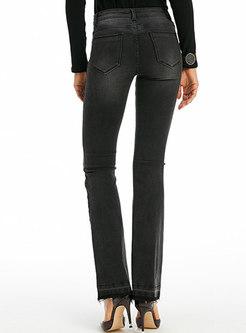 Stylish Solid Color High Waist Slit Slim Flare Pants