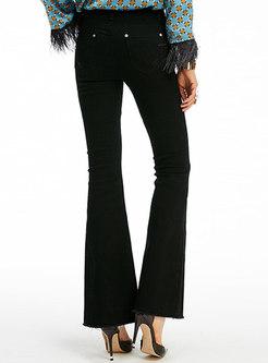 Chic Black High Waist Asymmetric Slim Flare Pants