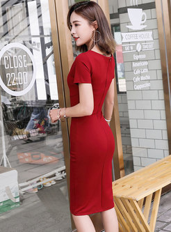 Pure Color Gathered Waist Zipper Slim Bodycon Dress