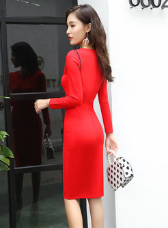Elegant Color-blocked Long Sleeve Sheath Dress