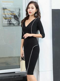 Stylish Deep V-neck Three Quarters Sleeve Sheath Dress
